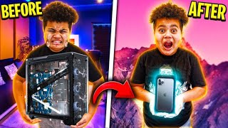 DESTROYING MY LITTLE BROTHER'S GAMING PC & SURPRISING HIM WITH AN IPHONE 11 PRO MAX!! **RAGING**