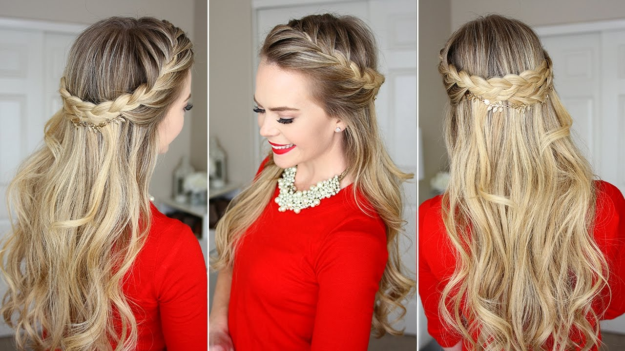 French Braid Crown Last Minute Holiday Hairstyle Youtube