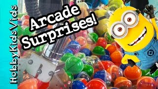 ARCADE Games SURPRISE Eggs! Catch A Minion Claw Challenge + Open Toys by HobbyKidsVids