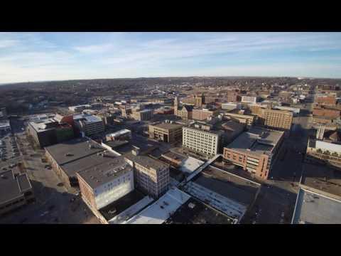 Sioux city, Iowa, downtown, weather ball, chroma drone