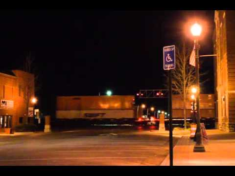 Night time BNSF trains in Emporia, Kansas. February 21st, 2016