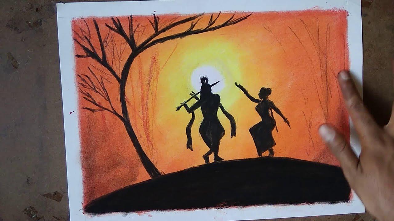 Very Easy Pastel Scenery Drawing Of God Krishna And Radha On Janmashtami Youtube