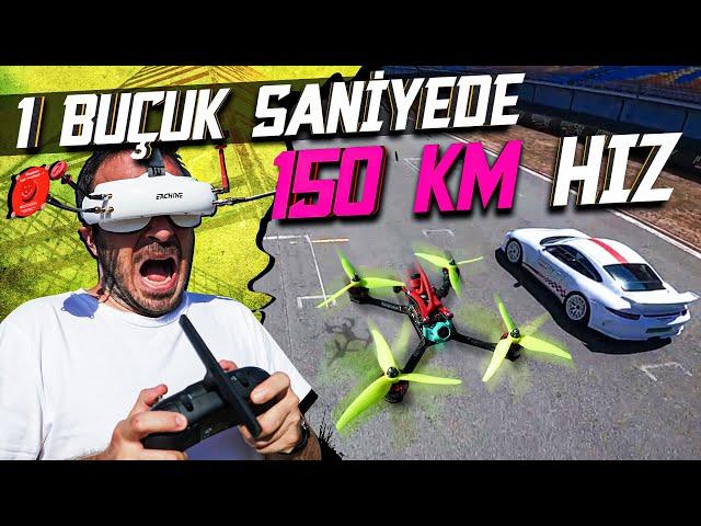EN HIZLI DRONE 0-150 KM 1,5 SANİYE VS PORSCHE !! @ Formula 1 Pisti