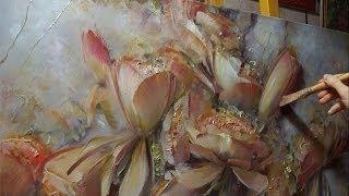 """""""Цветы на сером"""". Олег Буйко. Живопись маслом. Process of creating oil painting."""