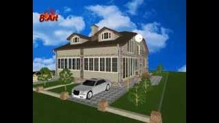 Проект частного загородного дома на 2 семьи - LS058
