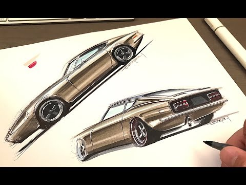 Loose Car Sketching Side View And Perspective View Datsun Z