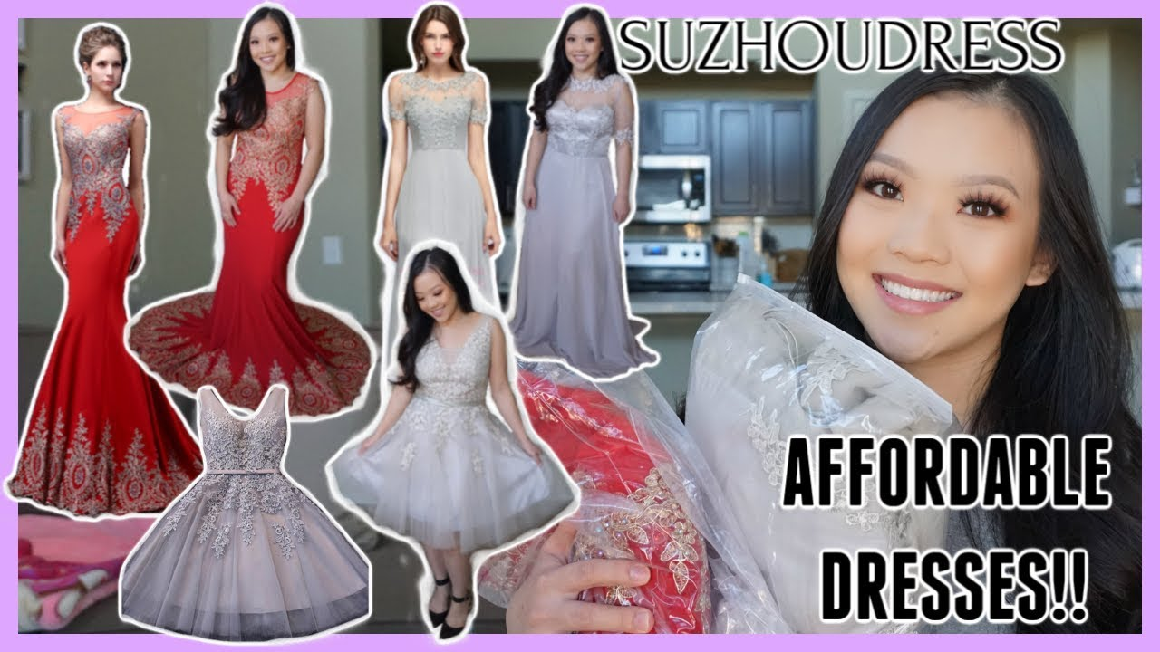 e99b6b1076 TRYING ON AFFORDABLE PROM DRESSES│SUZHOUDRESS - YouTube