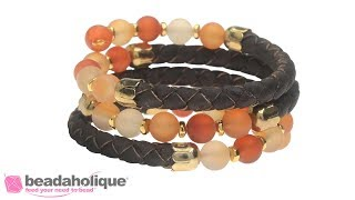 How to Make a Memory Wire Bracelet with Cork Cord and Gemstones