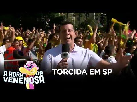 Torcida acompanha vitória do Brasil no Vale do Anhangabaú