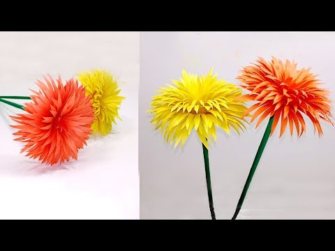 How to Make Beautiful Paper Stick Flower | DIY: Stick Flower Homemade | Jarine's Crafty Creation