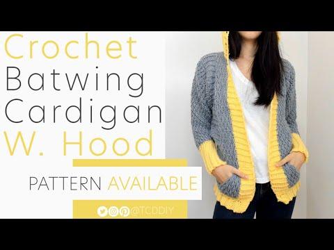 Crochet Batwing Cardigan with Hood | Pattern & Tutorial DIY
