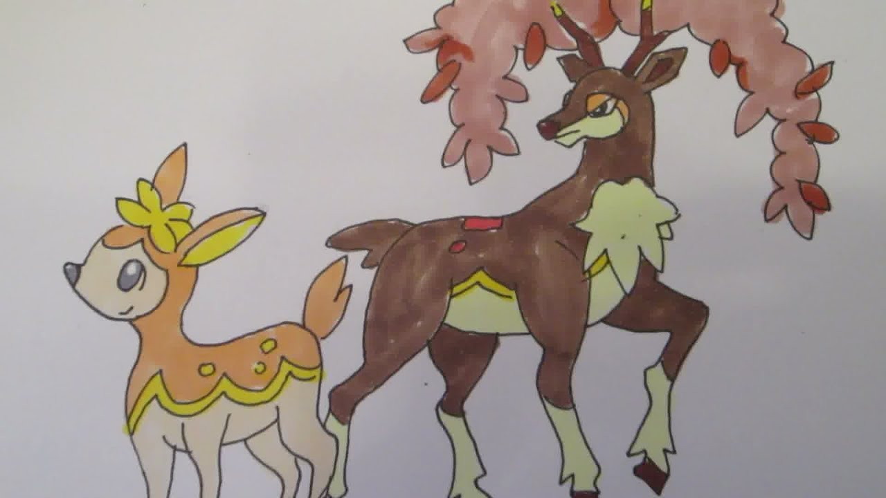 How To Draw Pokemon No585 Deerling No586 Sawsbuck