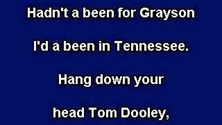 Tom Dooley Karaoke video with lyrics Instrumental version