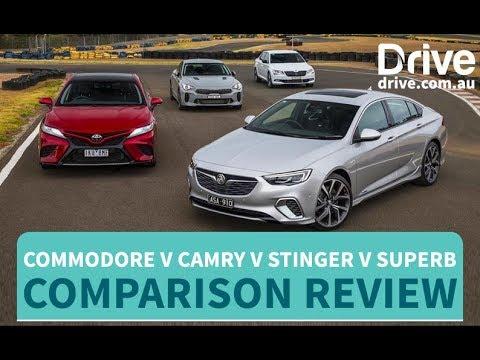 Comparison Test 2018 Commodore v Camry v Stinger v Superb Drive.com.au