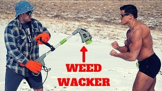 Bodybuilder VS WEED WACKER Challenge *CRAZY STINGING PAIN* | Weed Eater VS Human Skin Pain Test