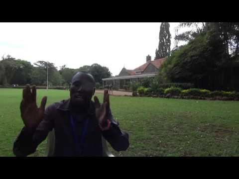Guide in Karen Blixen Museum in Nairobi (Kenya) is telling a story of her life