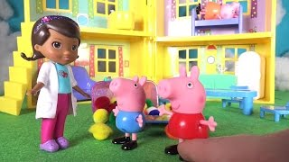 PEPPA PIG and George Play DOC MCSTUFFINdopS check-up mummy pig sick TOYS LINE