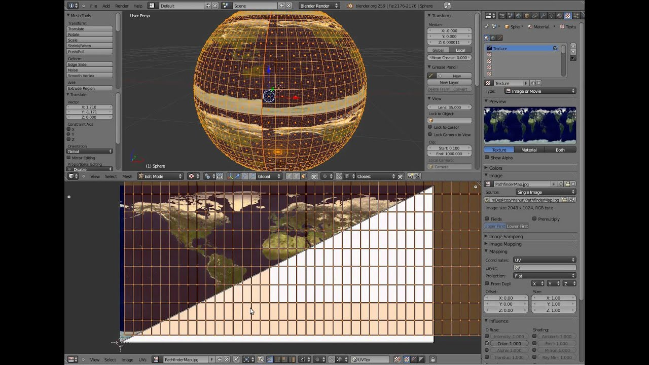 How to unwrap worldmap onto a sphere in blender youtube gumiabroncs Gallery