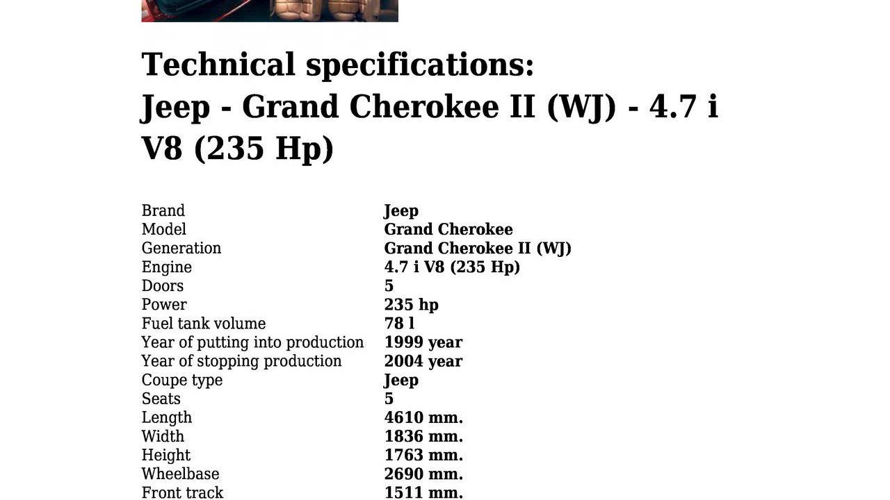 Jeep Grand Cherokee Ii Wj 4 7 I V8 235 Hp Technical Specifications You