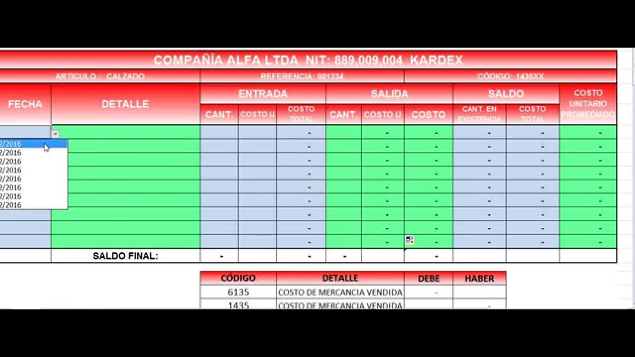 kardex promedio ponderado y asiento contable adicional del