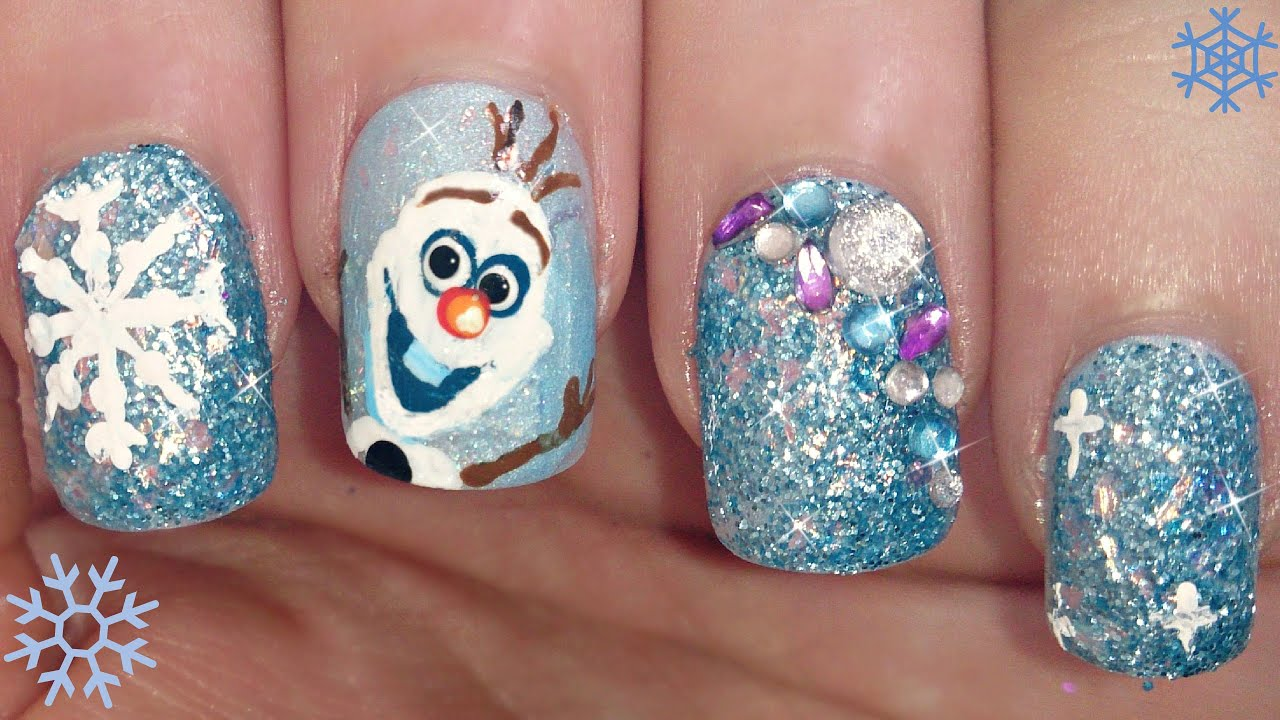 disney's frozen olaf nail art tutorial