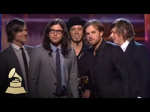 Kings of Leon accepting the GRAMMY for Record of the Year at the 52nd GRAMMY Awards | GRAMMYs