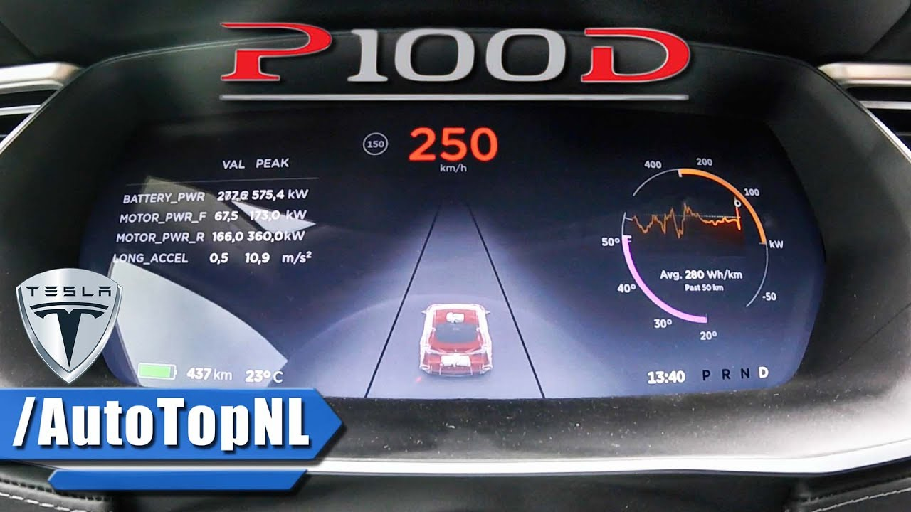 Tesla Model S P100D LUDICROUS ACCELERATION & TOP SPEED 0-250 km/h by ...