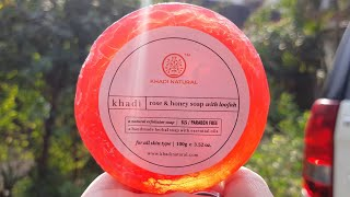 Khadi natural rose & honey soap with loofah review | body exfoliating bath soap for ever skin type