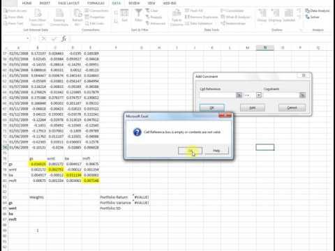 Portfolio of four assets: Optimization with Solver