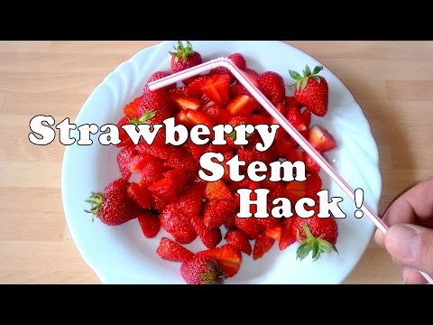 How To Remove Strawberry Stem (the easy way) - Fruit HACK !