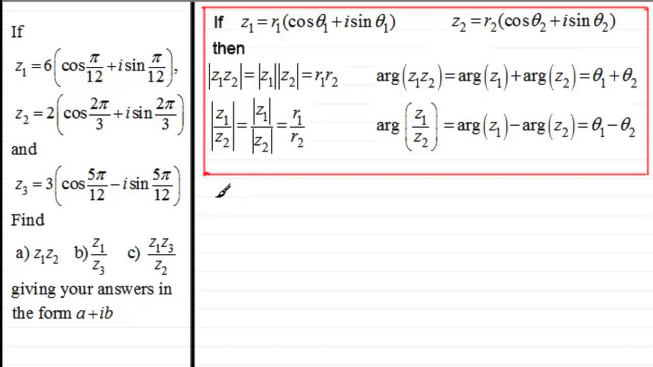 Multiplication Division Of Complex Numbers In Mod Arg Form