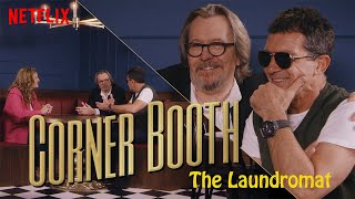 Antonio Banderas and Gary Oldman from The Laundromat in the Corner Booth | Netflix