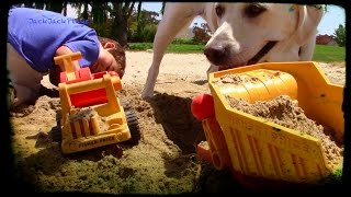 Toy Truck Videos for kids- fisher price classic trucks and dog digging in the sand