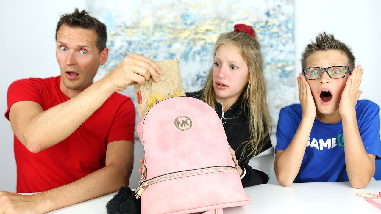 My Dad Reacts To What Is Inside My Bag Youtube - sisvsbro dadreacts whatsinmybag