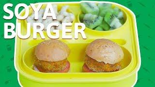 Soya Burger - Homemade Veg Burger Recipe - Burger Recipe For Kids - Easy Tiffin Recipe