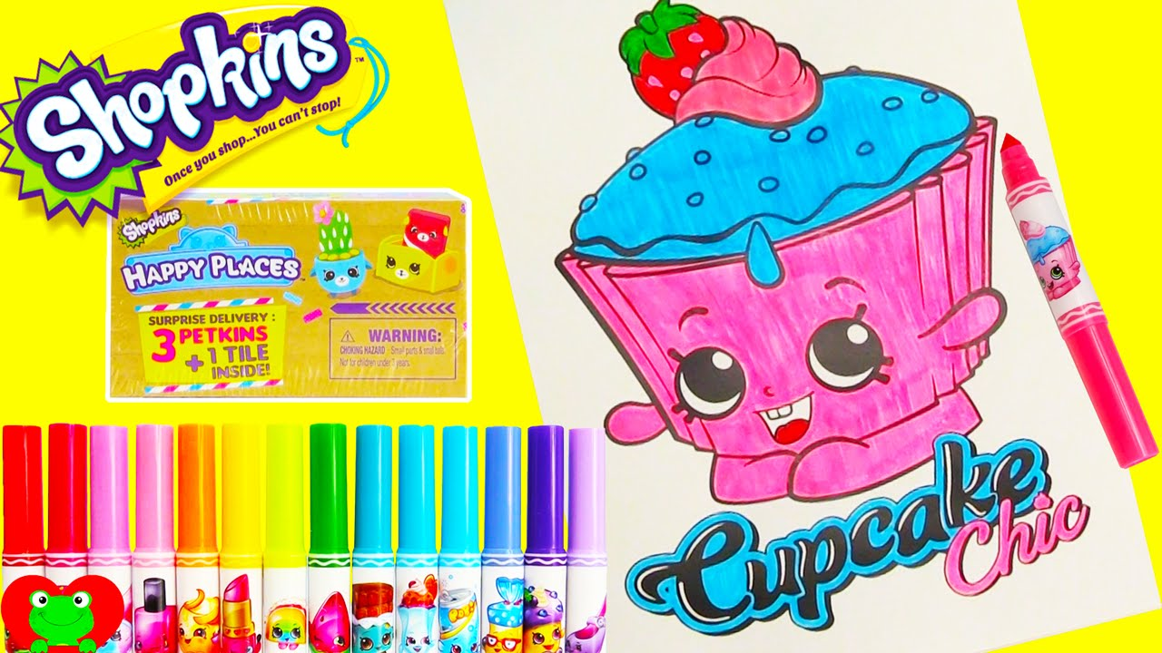 shopkins cupcake chic coloring page happy places surprises and