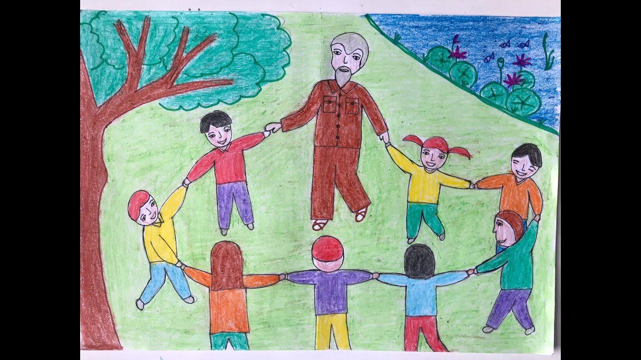 Vẽ tranh Bác Hồ với thiếu nhi – Bác Hồ chơi với các cháu thiếu nhi