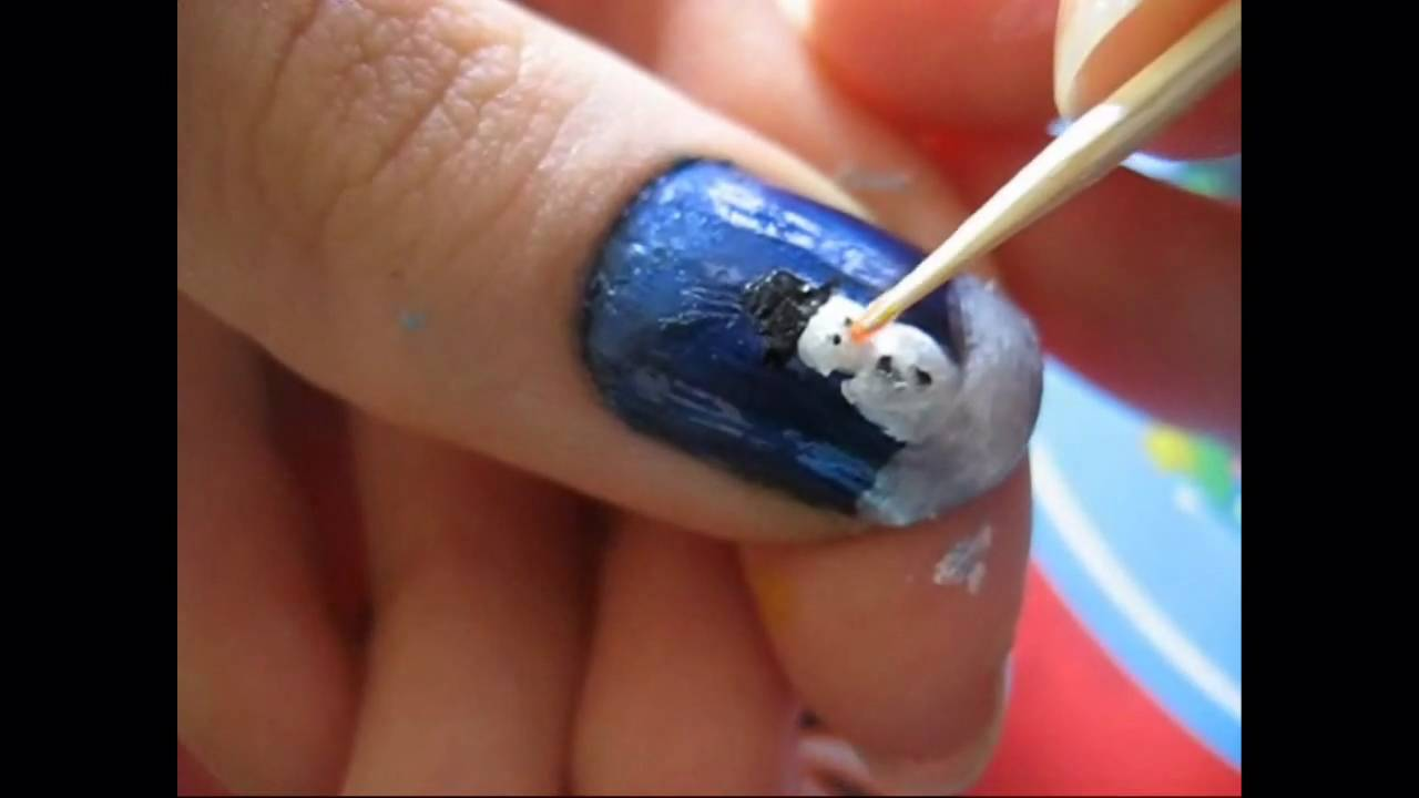 Snowman nails - YouTube