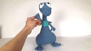 Дракон крючком. Вязаный динозавр. Вязаный дракон. Crochet dinosaur. Crochet dragon. Игрушки крючком