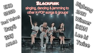BLACKPINK singing and dancing to other KPOP songs