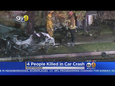 4 Killed When Speeding BMW Slams Into Tree, Erupts In Flames In Northridge
