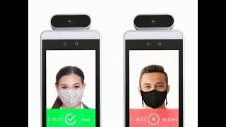 Non contact infrared body temperature access control display with facial recognition