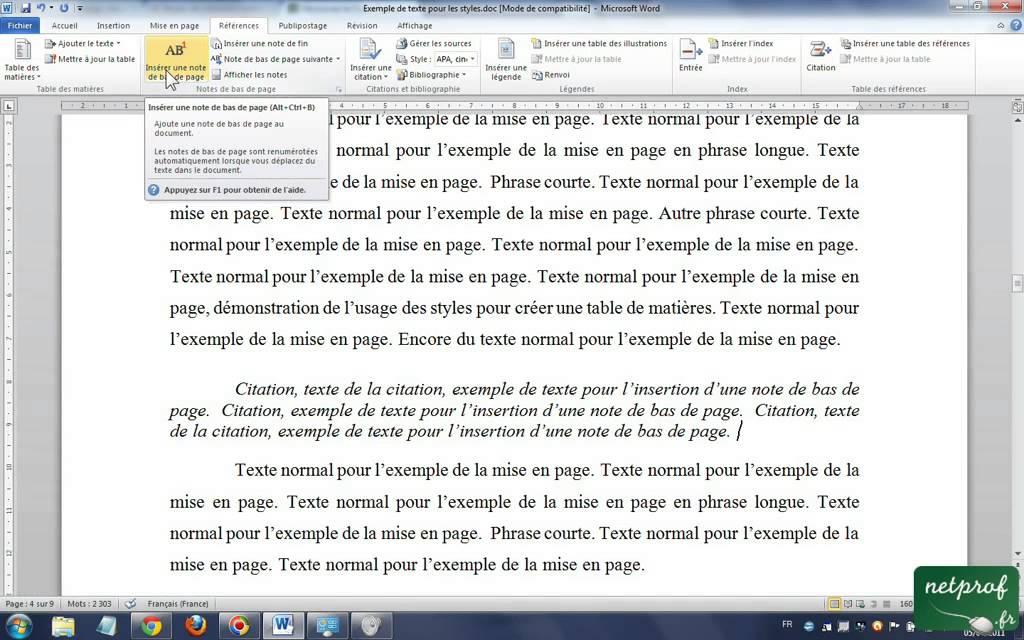 comment faire une note en bas de page sur word mac