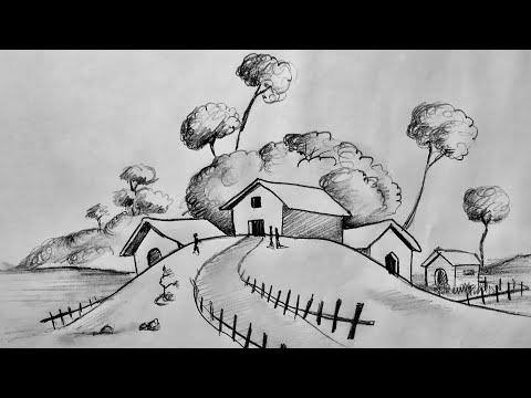 Karakalem Manzara Çizimi Kolay    Adım adım Manzara Resmi    Landscape Scenery Picture Drawing Art