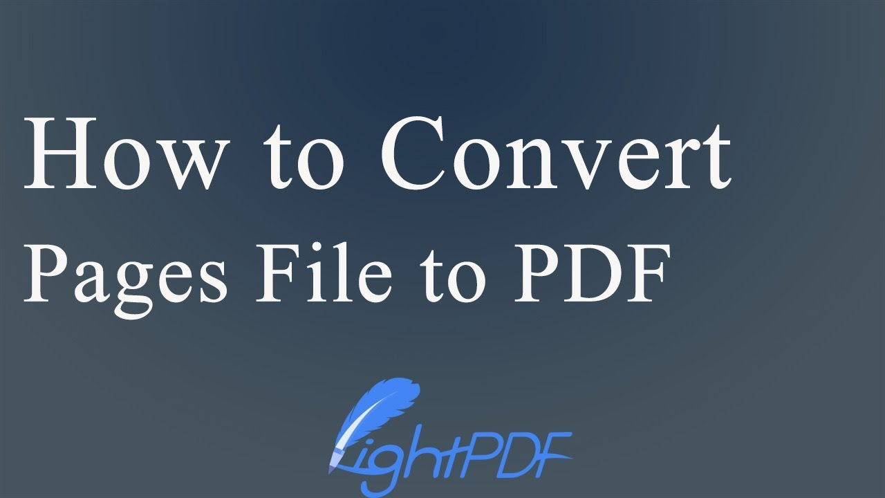 How to convert Pages to PDF