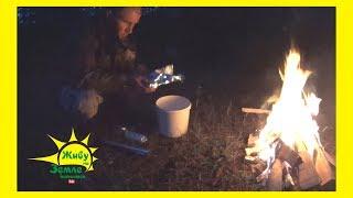 Рыбалка с ночевкой на дикой речке. Готовим рыбу на костре. Испытываем новую палатку под дождем.