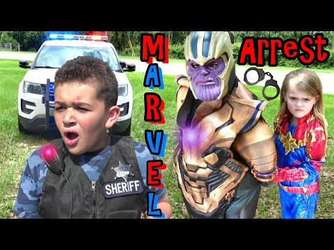 Can CAPTAIN MARVEL DEFEAT THANOS??! Cop Kids CRAZY Backup Arrest Plan....