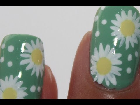 Flower Spring Nail Art Tutorial Daisy Youtube