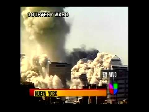 9/11- North Tower Demolition - Live Univision Spanish News C