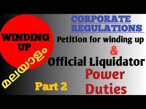 official liquidator & petition for winding up  corporate reg